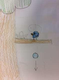 Teckning på fågel och isägg