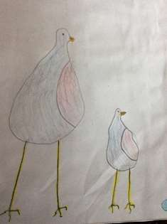 Teckning på fågel och isägg 4