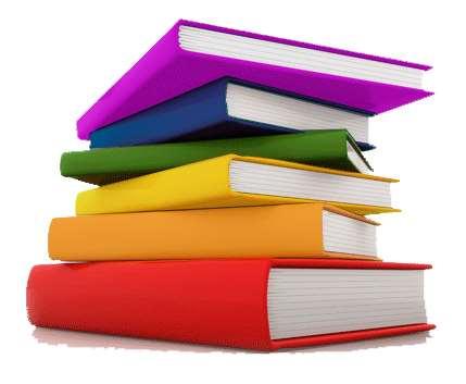 Bild på regnbågsfärgade böcker