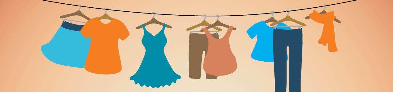 Bild på kläder som hänger på lina