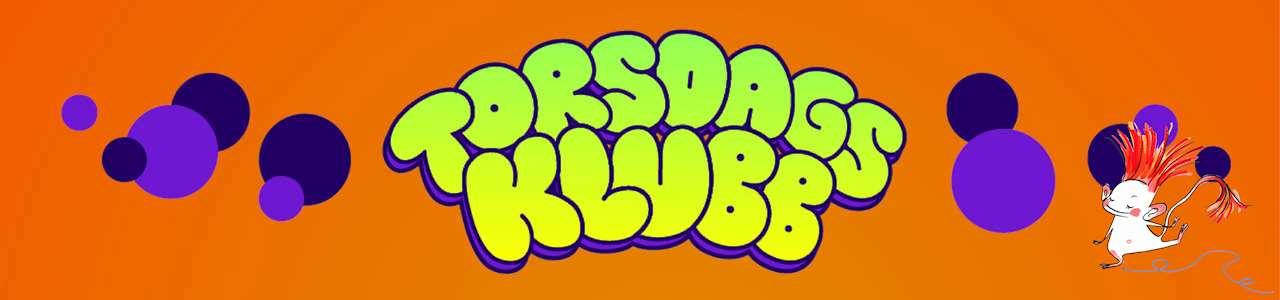 Torsdagsklubbens logga, grön text mot orange bakgrund och lila bubblor