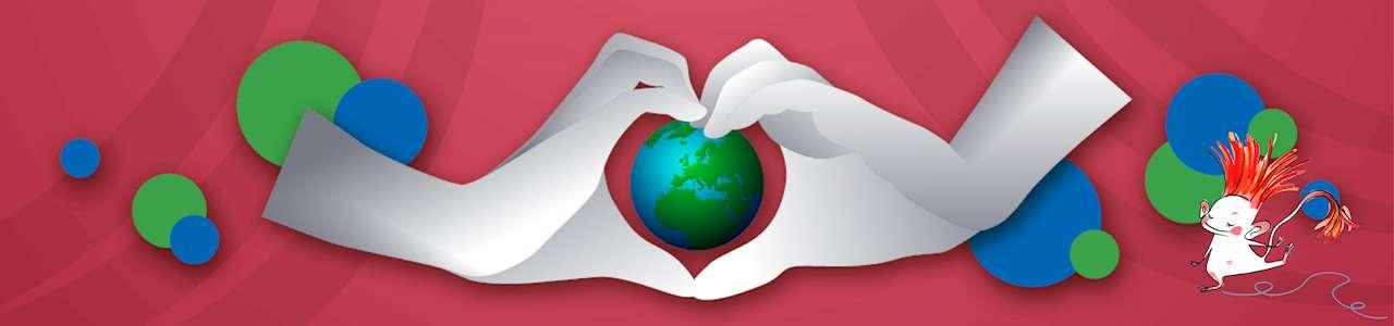 Bild på händer som formar ett hjärta runt en jordglob