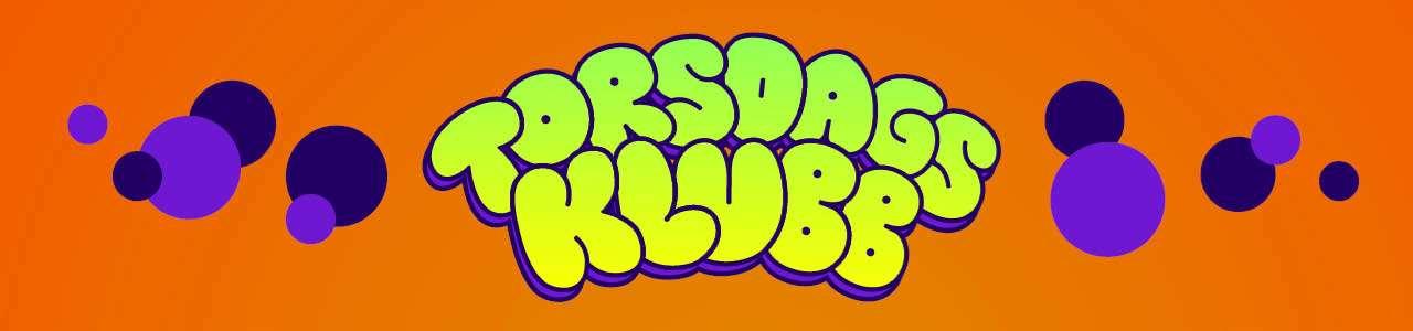 Bild på torsdagsklubbsloggan, grön text mot orange bakgrund
