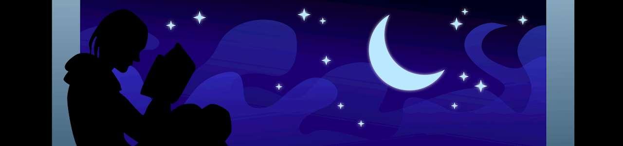 Bild på siluetten en person som läser i ett fönster med månen i bakgrunden