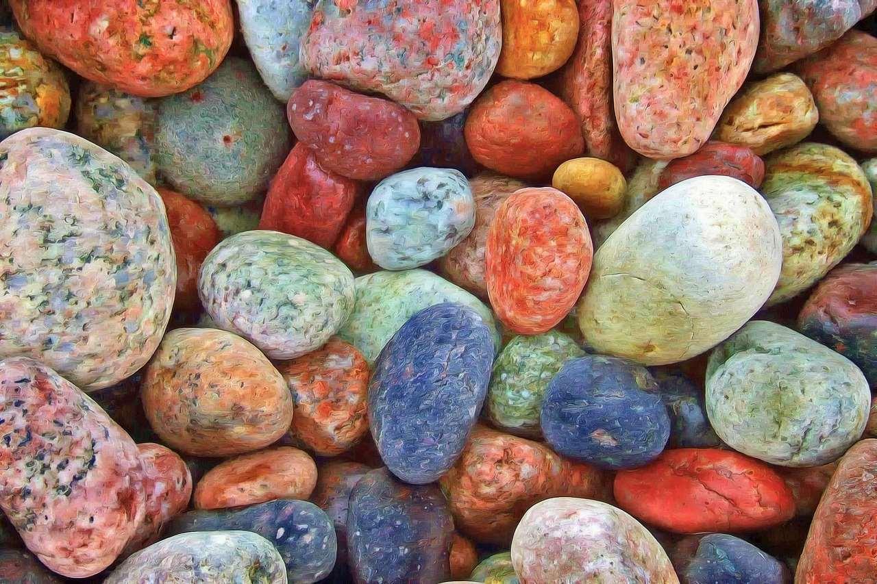 Bild på färgglada stenar
